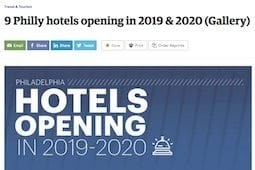 Article by the Philadelphia Business Journal on new hotels opening in 2019 and 2020 that include Lokal Hotel Fishtown